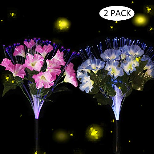 dapai Solar Garden Lights Outdoor, LED Decorative Solar Flowers Stake Lights for Garden Yard Patio Lawn Path Decoration, Color Changing, 2 Pack ( Pink & Purple)