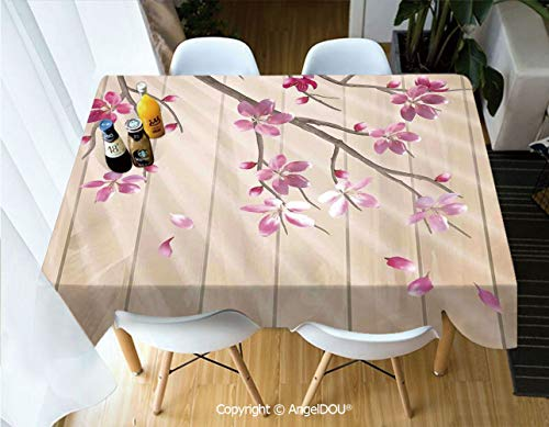 AngelDOU Fashion Durable Polyester Printed Tablecloth Spring Cherry Twig Falling Petals Sun Beams on Wooden Wall Background Illustration for Kitchen Dining Room Outdoor Camping,W55xL55(inch)