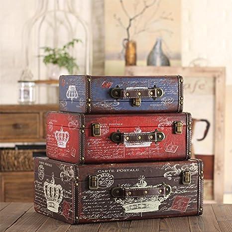 GFEI American Retro puntales de madera / maleta caja maleta hacer Old Antique decor / Decoracion / visualizacion de la ventana: Amazon.es: Hogar
