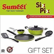 Sumeet Six Pix Nonstick Gift Set (Dosa Tawa:11 In , Tadka Pan:150 Ml And Kadhai With Glass Lid: 2 Liters)