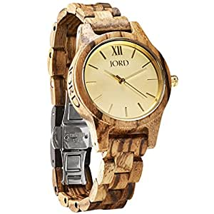 JORD Wooden Wrist Watches for Women - Frankie 35mm Series / Wood Watch Band / Wood Bezel / Analog Quartz Movement - Includes Wood Watch Box (Zebrawood & Champagne)