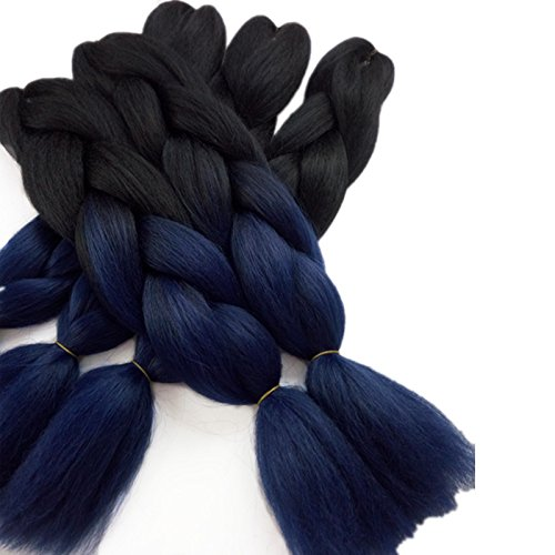24inch Black to Midnight Blue Two Tone Ombre Color Synthetic Braiding Hair Extensions Jumbo Braids Hair Bulk 5packs/lot for Crochet Hair (black/midnight blue)