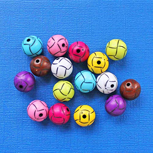10 Volleyball Beads Colorful Acrylic and Just Plain Fun 3D 1