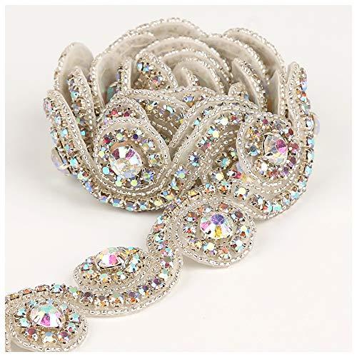 Crystal Applique 1 Yard Silver AB Rhinestone Beaded Applique Bridal Applique for Wedding Dress and Bridal ()