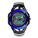 Kids Analog Watch Digital Dual Time Watch Sport Casual Quartz Military Time Wrist Watch Cool LED Stopwatch Alarm Watch Fashion Dress Athletic Cheap Watch Boys Girls Child 50M Waterproof -Blue