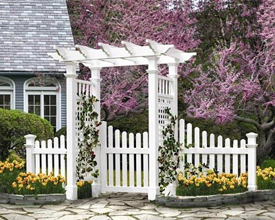 BestNest New England Fairfield Arbor with Trim, Wings, and Gate (Picket Fence Wings)