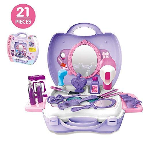 21Pcs Pretend Makeup Kit for Girls Cosmetic Pretend Play Dress-up Beauty Salon Toy Set with Mirror Best Gift for Kids by Bonniesun
