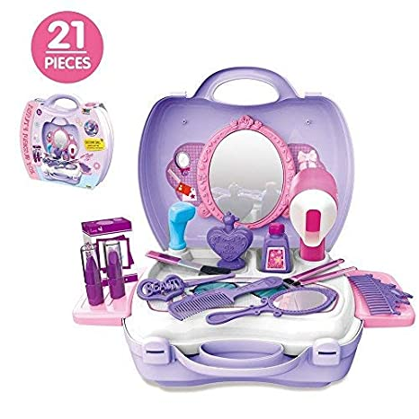 1eadffc12 Image Unavailable. Image not available for. Color: 21Pcs Pretend Makeup Kit  for Girls Cosmetic Pretend Play Dress-up Beauty Salon Toy Set