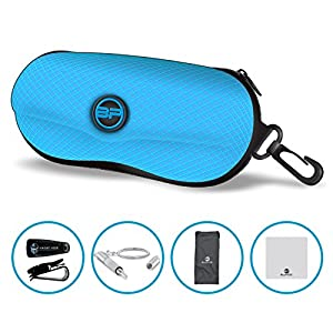 BLUPOND Semi Hard EVA Glasses Case with Hanging Hook 5 IN 1 Set for Sports Sunglasses (Light Blue)