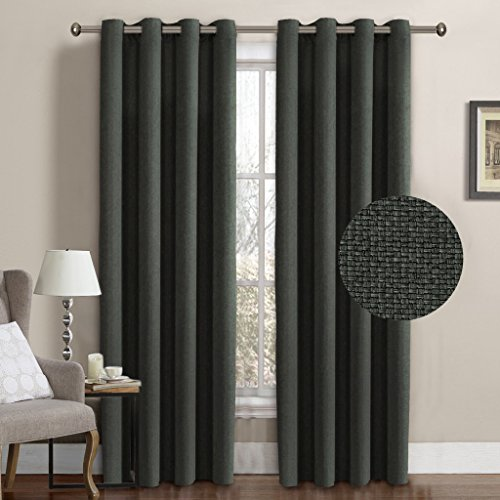 H.Versailtex Ultra Classic Thermal Insulated Energy Efficient Textured Linen Grey Curtain Panels for Bedroom,Grommet Drapes of Window Treatment,52 by 84 Inch-Charcoal Gray (Set of 1)
