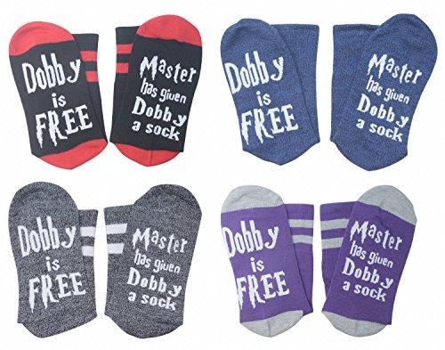 4 Pairs Unisex Novelty Socks Funny Saying Dobby