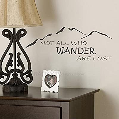 BATTOO Not All Who Wander Are Lost Wall Decal Mountain Vinyl Sticker Family Kids Room Mural Motivation Love Home Travel Hobbit