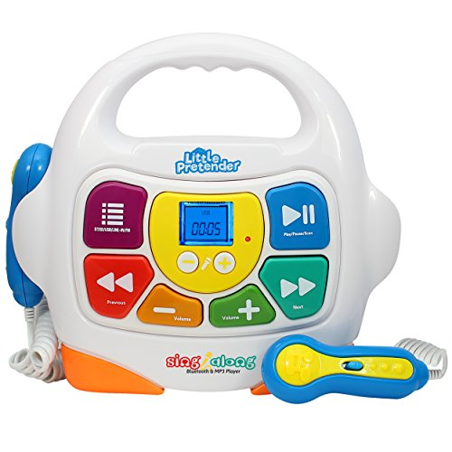 Little Pretender Kids Karaoke Machine - Sing Along MP3 Music Player with 2 Microphones - Plays Music via Bluetooth, SD, USB, Aux &FM Radio (Kids Player Along Sing Cd)