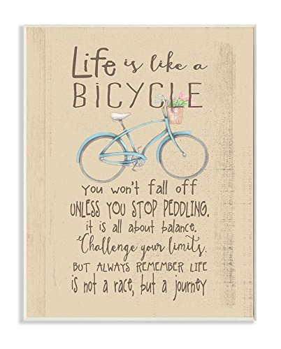 Stupell Home Décor Life is Like a Bicycle' Icon Inspirational Typography Wall Plaque Art, 10 x 0.5 x 15, Proudly Made in USA by The Kids Room by Stupell