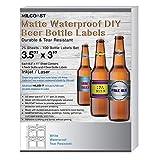 Kitchen & Housewares : Milcoast Matte Waterproof Tear Resistant Blank White Adhesive DIY Beer Bottle Labels - For Laser/Inkjet Printers - 100 Label Sets (25 Sheets)