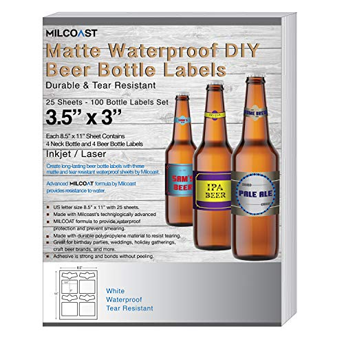 Milcoast Matte Waterproof Tear Resistant Blank White Adhesive DIY Beer Bottle Labels - For Laser/Inkjet Printers - 100 Label Sets (25 Sheets) ()