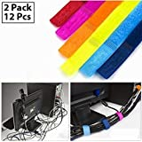 HOKIPO® Colorful Cable Wire Ties Curtain Marker Straps Belts Holders, Multipurpose, Set of 12, Random Colors