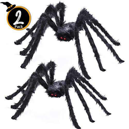 Giant Spider Halloween Decoration (2 Pack Halloween Party Giant Spider Spooky Hairy Spiders Outdoor Yard Decoration Scary Creepy Black Spider (5 FT + 4)
