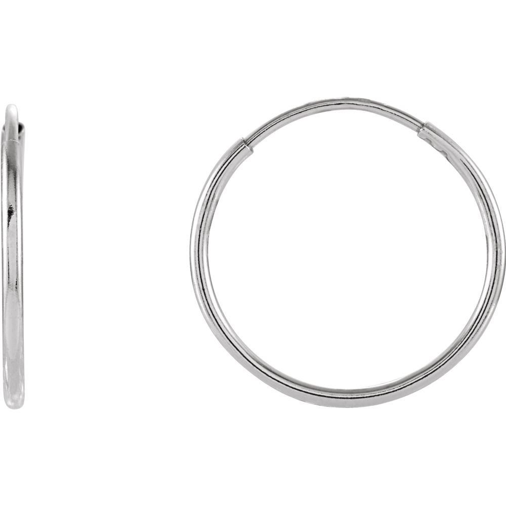 14K White 15mm Endless Hoop Earrings