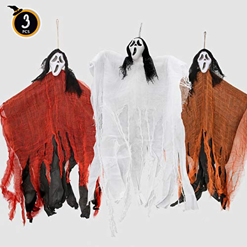 FiGoal Halloween Party Indoor and Outdoor Realistic Looking Decoration Set 3PCs 33in Hanging Ghost (Reapers) in Three Colors (Red, White and Orange) Haunted House Decor Accessories (Best Halloween Indoor Decorations)