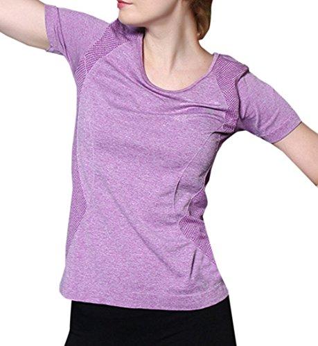 Chemisiers Haut Rond Rapide Femmes Shirts Running Violet Schage Blouses Col Slim Fashion Tops de Fitness Jogging T Sport de Casual Shirt Tee Yoga ExZq4Cqw0