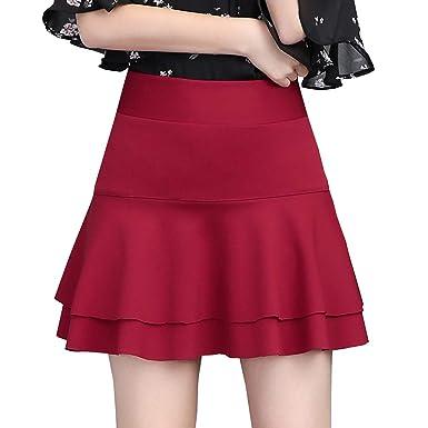 DISSA CA1216 - Falda Mini Puntada para Mujer Rojo Intenso 38 ...