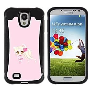 Paccase / Suave TPU GEL Caso Carcasa de Protección Funda para - Blonde Anume Character Cat Ears Girl - Samsung Galaxy S4 I9500