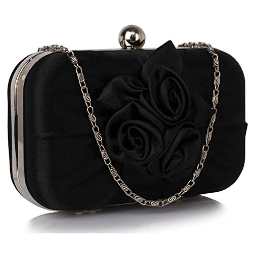 L And S Handbags Satin Pleated Flower Front Clutch Bag - Cartera de mano para mujer negro