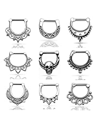 D&M Jewelry 9pcs Stainless Steel Nose Ring Set 14g 16g Septum Clicker Bull Ring Nose Piercing Kit