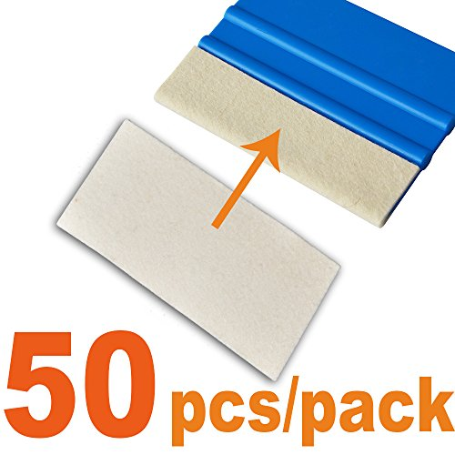 Ehdis 10x5cm Car Soft Wet Dry Wool Felt Edge Scratchless Scratchfree for Window Decal Wrapping Vinyl Tint 3M Wool Scraper Application Tool 50PCS/Pack (Not Included Squeegee)