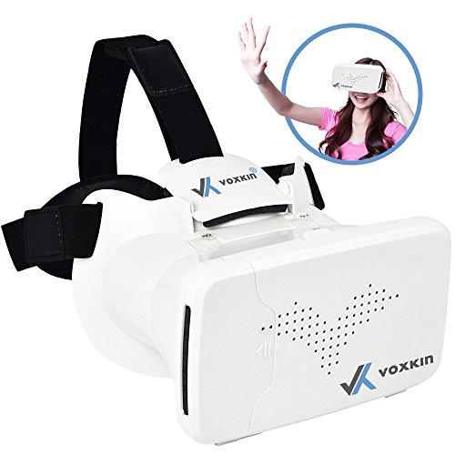 "3D VR Glasses by Voxkin with Capacitive Touch Button - Google Cardboard Games & Apps Compatible - Perfect Virtual Reality Headset Goggles for iPhone, Samsung, Android & any Cell Phones 3.5"" to 6"""