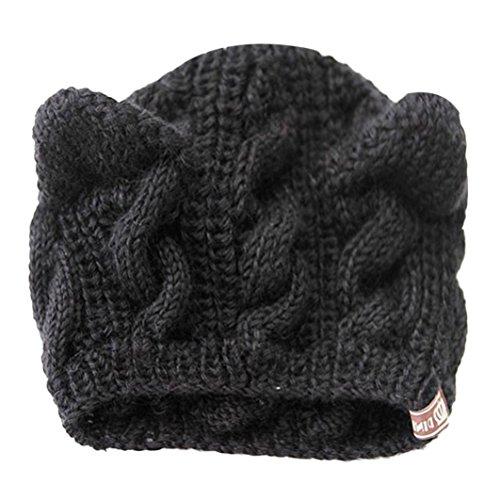 GBSELL-Women-Girl-Fashion-Cat-Ears-Hemp-Flowers-Knitted-Hat-Sport-Cap