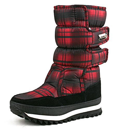 Fashion Mid Platform Lining Red Calf Womens AUSLAND 99489 Fur Boot S5EwqRSx