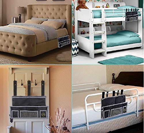 JOED Bedside Caddy Organizer for Accessories - Remote Control Holder and Hanging Storage Organizer Pouch for Dorm Room, Bunk Bed side, Loft and Hospital Beds, Headboard Pocket and Under Mattress Caddy