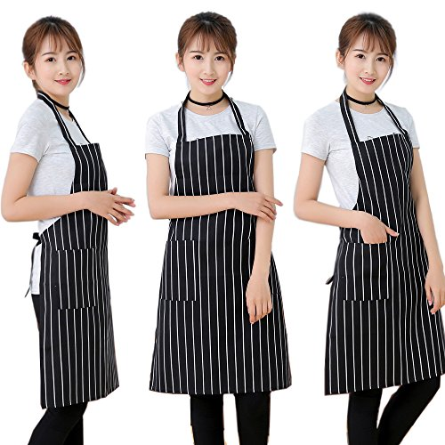 Kitchen Apron for Women Useful Cooking Accessories with 2 Pocket Waterproof Oil proof Striped