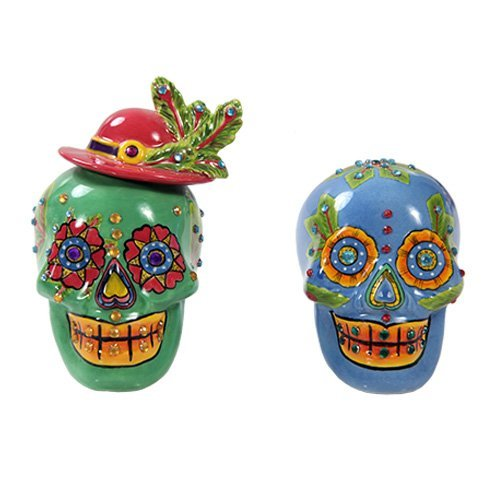 Pacific Giftware Day of Dead Sugar Blue /& Green Skulls Salt /& Pepper Shakers Set Rhinestone DOD