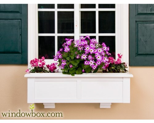 60 Inch XL Hartford Premier No Rot PVC Composite Flower Window Box w/ 2 Decorative Brackets by Windowbox