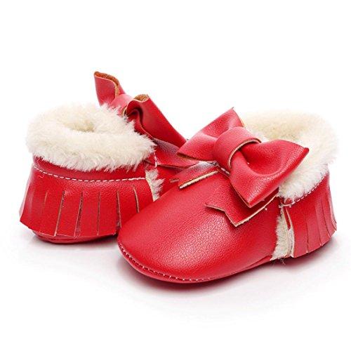 Huhu833 Neugeborene Lovely Kleinkind Schuhe Bowknot Weiche Sohle Schneeschuhe Weiche Krippe Baumwolle Schuhe Kleinkind Stiefel (0~18Month) Rot