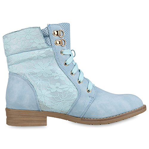 napoli-fashion Damen Schnürstiefeletten Spitze Stiefeletten Zipper Worker Boot Hellblau 37 Jennika AJdytd