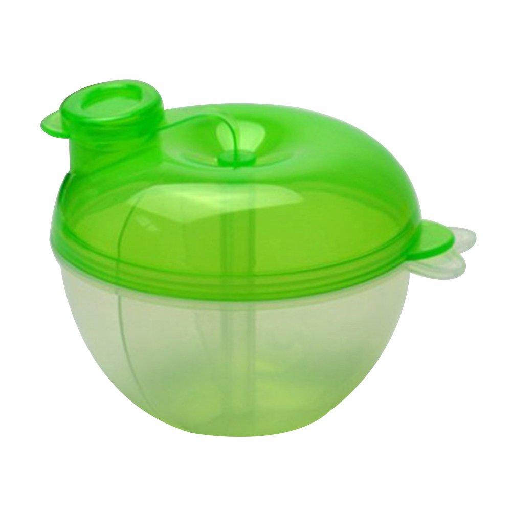 3 Interlayer Dispenser Food Storage Snack Container Baby Feeding Travel Milk Powder Box Food Bottle Container size Apple (Green)