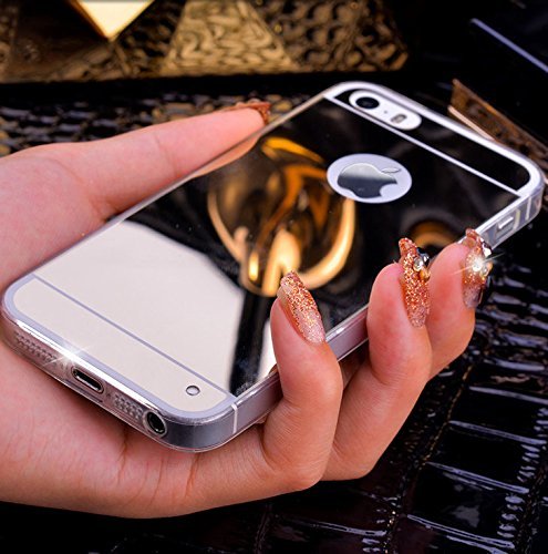 Coque iphone 5 5S Luxe cristal cover effet miroir Chrome ESS TECH® tpu silicone semi souple etui