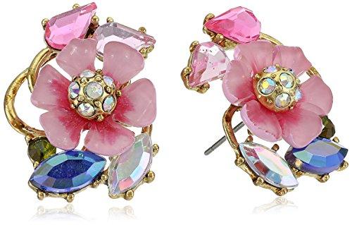 Betsey Johnson Spring Glam Flower Cluster Stud Earrings