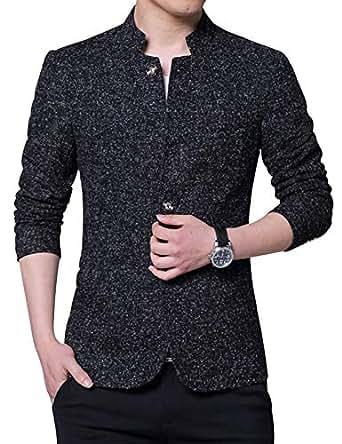 Jueshanzj Men's Slim Fit Suit Jacket with Six Button L Black