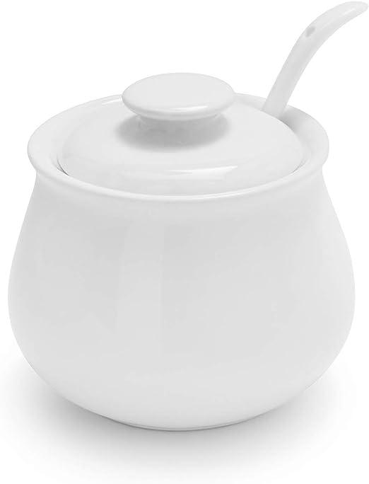 Amazon Com Sur La Table Porcelain Sugar Bowl With Lid And Serving Spoon He2737 S Cream Sugar Sets