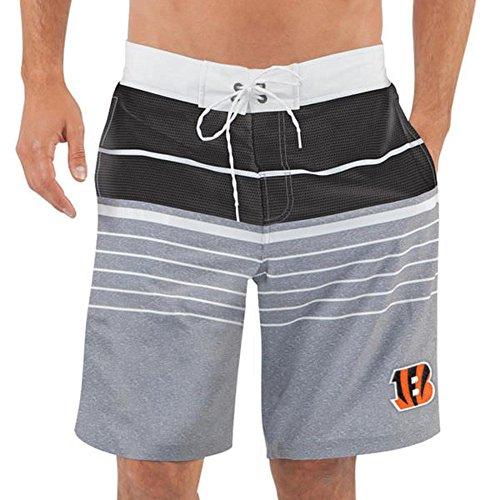 G Iii Sports Cincinnati Bengals By Carl Banks Balance Quick Dry Swim Trunks   Heathered Gray Black  X Large