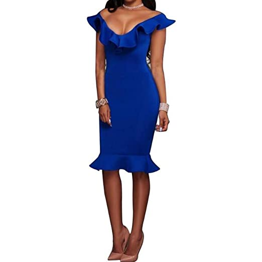 d6903c208af Honghu Summer Off Shoulder Midi Bodycon Dress Sexy Ruffles Women Party  Dresses Blue S