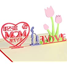 UNOMOR Mother's Day Cards with Envelope - Best Mom Ever - 3D Pop Up Greeting Cards, Best Gift for Mother's Day Birthday
