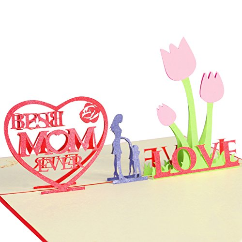 Mother's Day Cards with Envelope - Best Mom Ever - 3D Pop Up Greeting Cards for Mom's Birthday