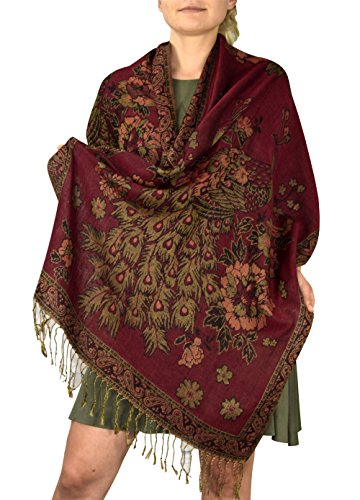 (Peach Couture Floral Peacock Reversible Shimmer Layered Pashmina Wrap Shawl Scarf Maroon)