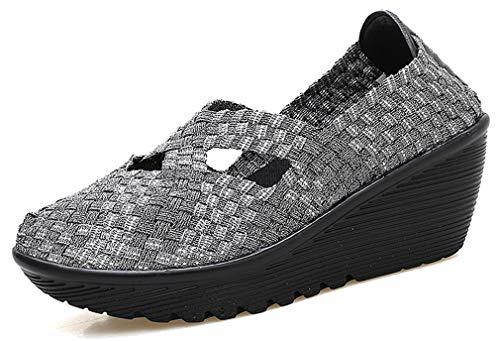 図ワックス降臨女性のためのFemaroly編み靴快適なマザーカジュアルアウトドアウォーキングシューズ
